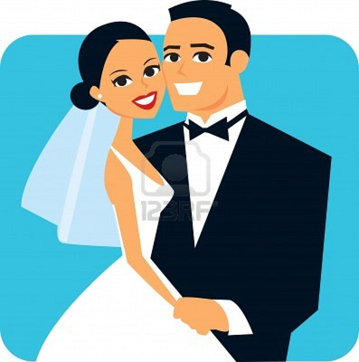 Cartoon Happy Wedding Couple Free Image
