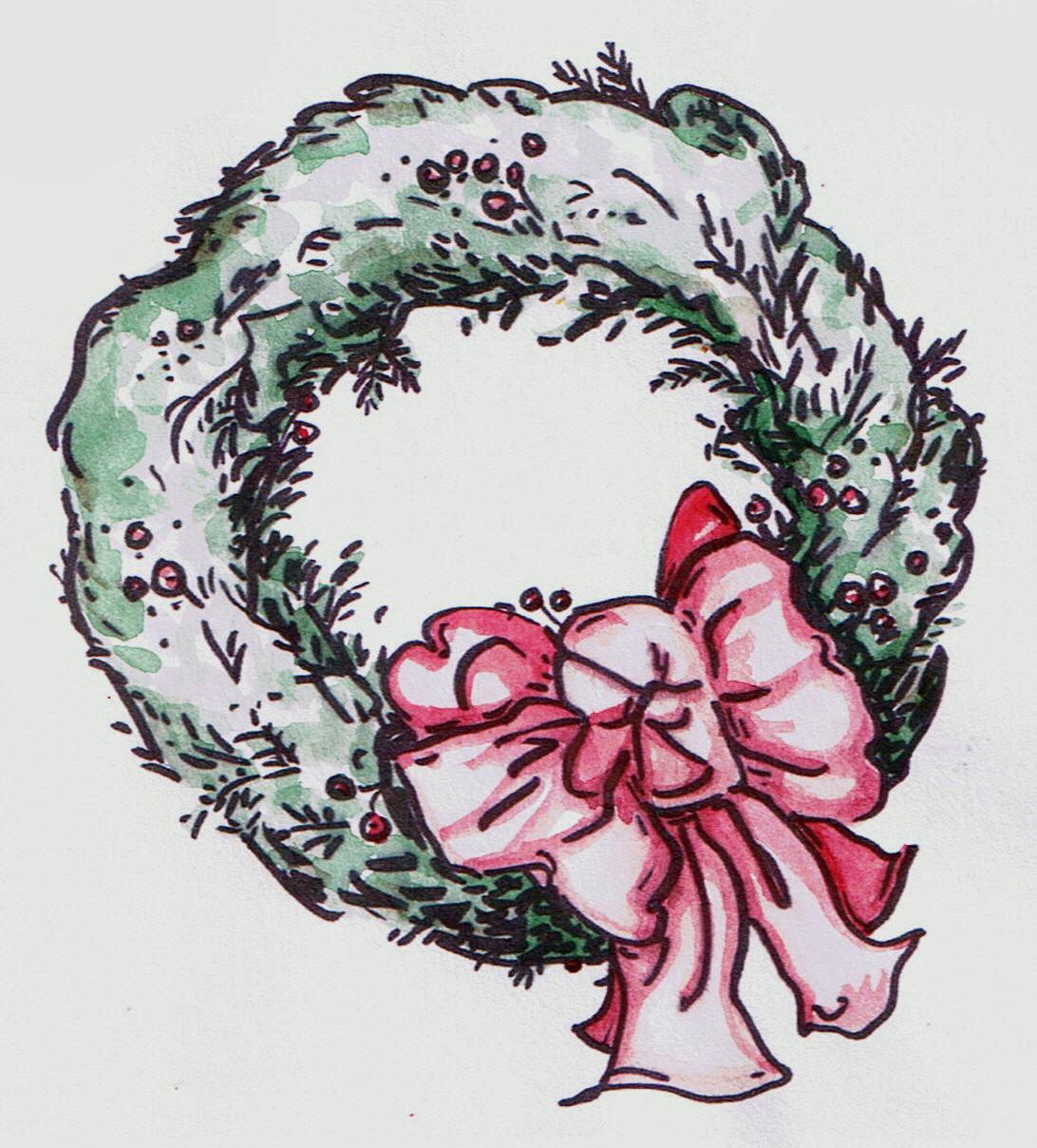 Christmas Wreath Vintage Drawing Free Image