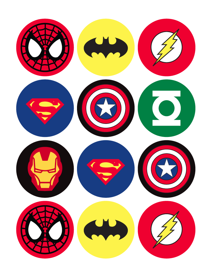 photo relating to Batman Cupcake Toppers Printable titled Absolutely free Printable Superhero Cupcake Toppers free of charge graphic