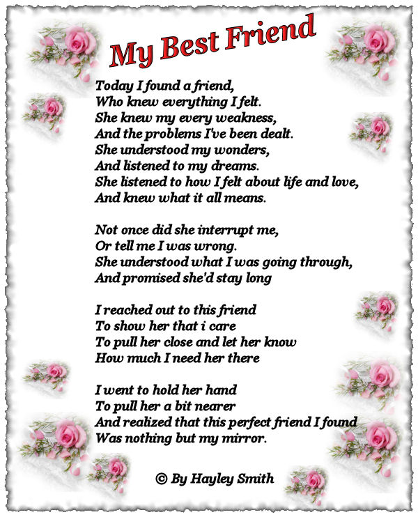 For your best poems friend girl 50 Best