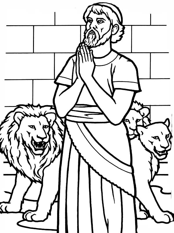 Daniel And Lions Den Coloring Page free image