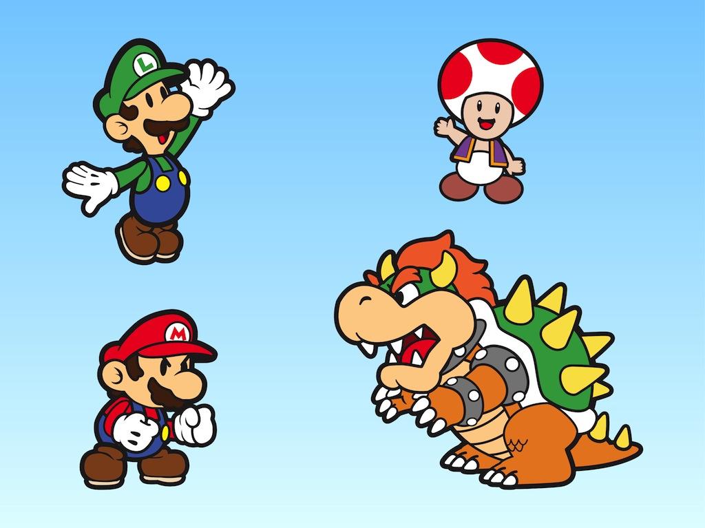 Super Mario Bros Original Characters Drawing Free Image