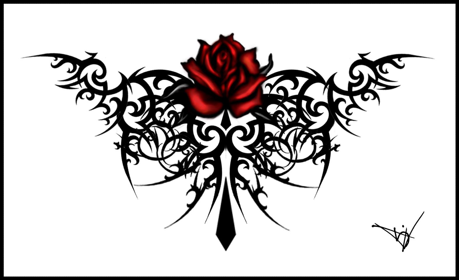 Tribal Rose Tattoo Designs Free Image