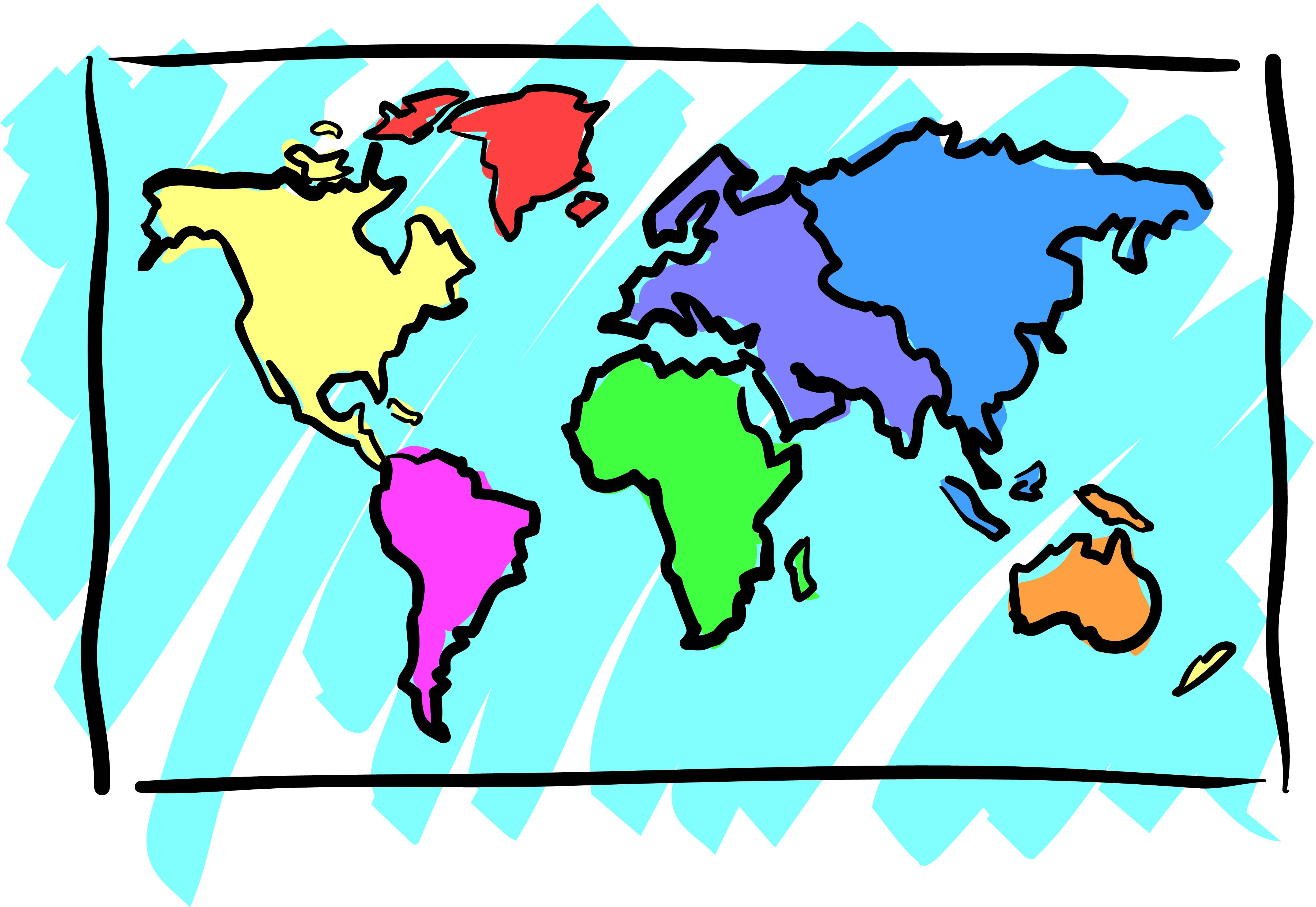 World Continent Map Cartoon free image