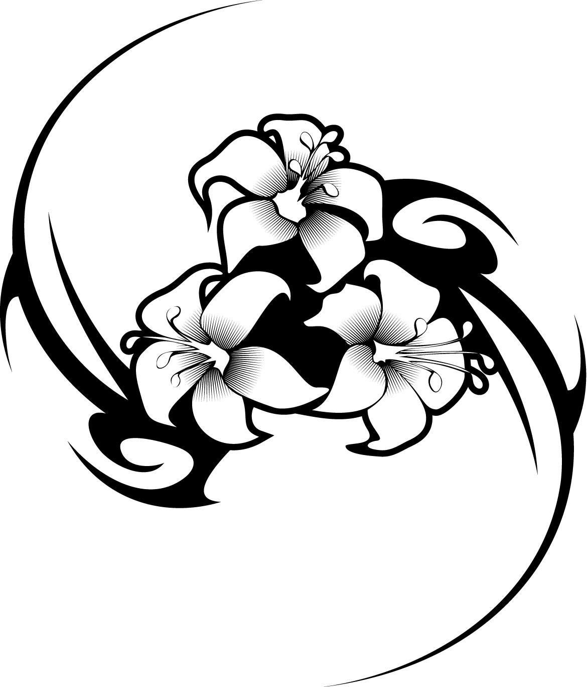 Hibiscus Flower Tribal Tattoo Designs Free Image