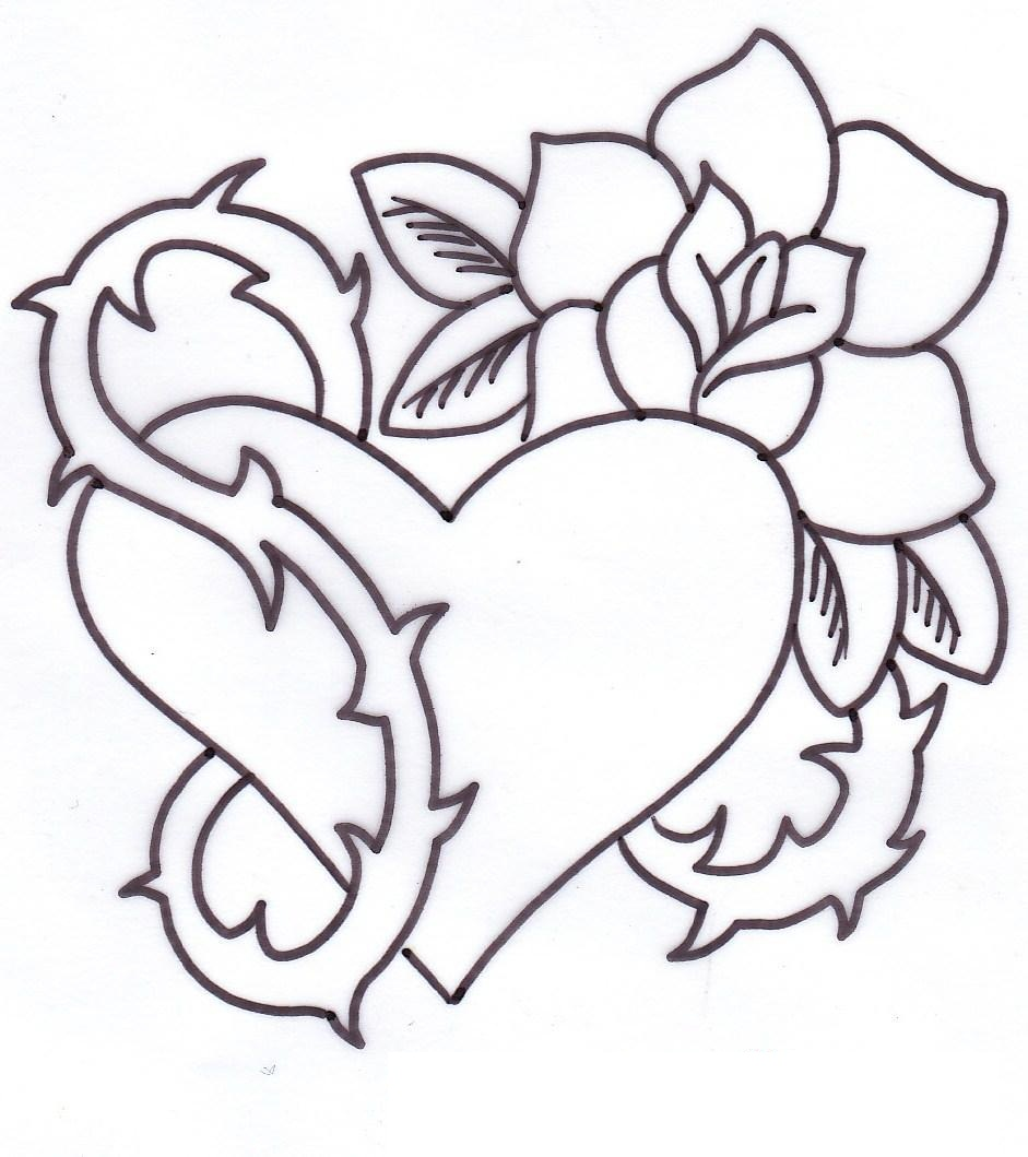 Heart With Rose Tattoo Outline Design Free Image