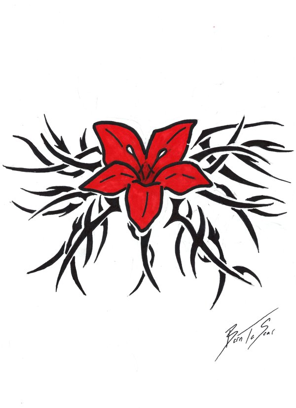 Hawaiian Tribal Flower Tattoo Designs Free Image