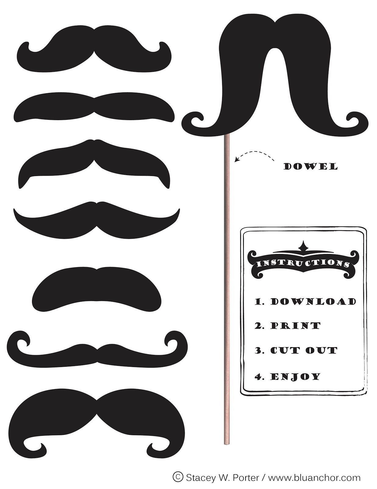 picture about Free Printable Mustache called Cost-free Printable Mustache Booth absolutely free impression
