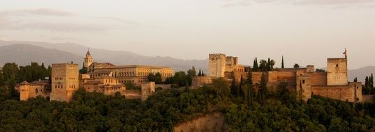 Alhambra, palace and fortress at evening, panorama, spain, granada