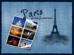 postcard with pictures of sights of paris
