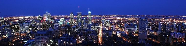 night montreal city canada panorama