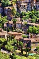 picturesque ruins of old village at rock, france, provence, sault