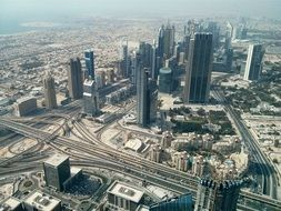 view of modern city at sea and Sheik Zayed Road, uae, dubai