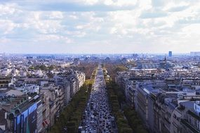 paris street in perspective, top view, france