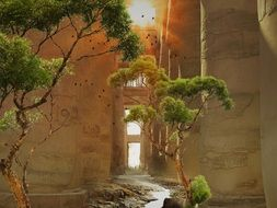sunbeams through hole in wall of ancient ruined building, egypt