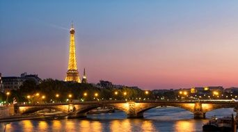 Eiffel Tower in evening
