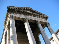 Temple of Augustus, ancient ruin at sky, Croatia, pula