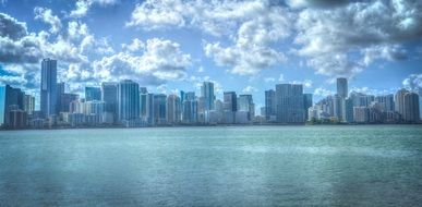 cityscape of Miami from the water