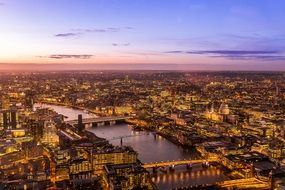 aerial view of illuminated city at dusk, uk, england, london