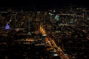 metropolis night view aerial city many lights
