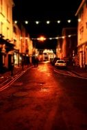tilt shift street night city town