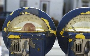 close up of parking meter on street
