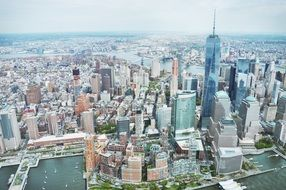 top view of metropolis with landmarks at hudson river, usa, manhattan,new york city