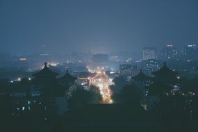 night cityscape with buddhist buildings, japan