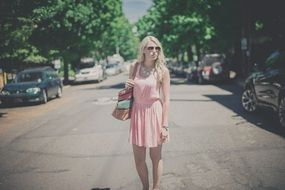 slim girl woman blonde long hair pink