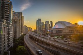 rogers centre arena in cityscape at sunset, canada, toronto