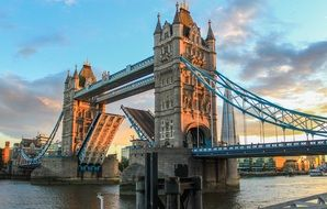 beautiful view of open tower bridge at evening, uk, london