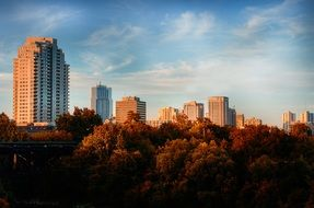 modern apartment buildings blocks at fall landscape