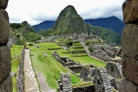 Machu Picchu, medieval Inca citadel on mountain, peru