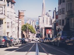 view of street in city on hills, usa, california, san francisco