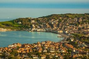 aerial view of the coastal town of Swanage