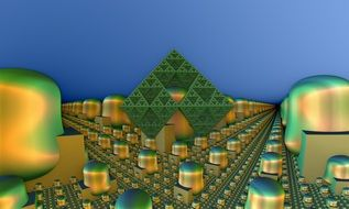 abstract modern city, 3d rendering