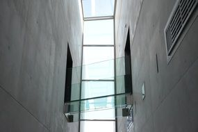 glass construction in modern building interior