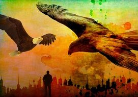 grunge colorful background with eagles and man silhouete at cityscape