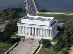 aerial view of lincoln memorial building, usa, washington