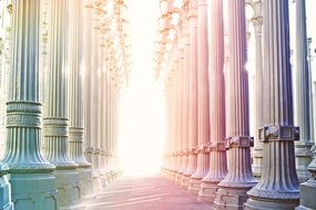 sunlight in beautiful columnar arcade