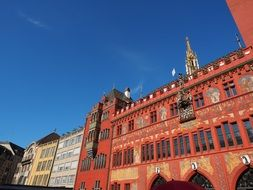 Basel Town Hall facade at blue sky, Switzerland