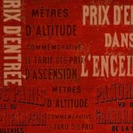 red grunge background with inscriptions on french