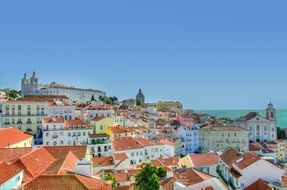 alfama, top view of old colorful district, portugal, lisbon