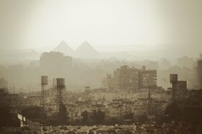 smog over the stadium in Kairo, Egypt