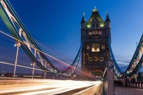 Lights of tower bridge at night in London