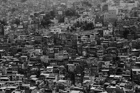 brazil black white panorama slum favela houses