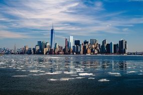winter ice water new york skyline city
