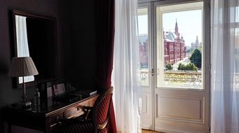 french window in retro flat interior, russia, moscow