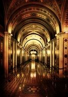 inner hallway of capitol with polished floor, usa, washington dc