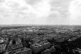 paris city aerial view black and white